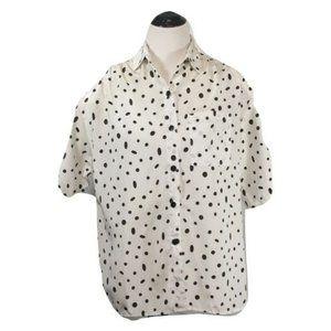 Glances Los Angeles black & white polka dot blouse